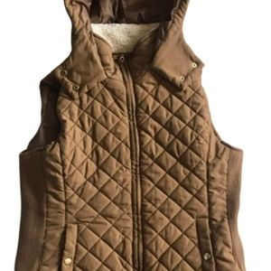 Active USA Brown Quilted Hooded Vest M